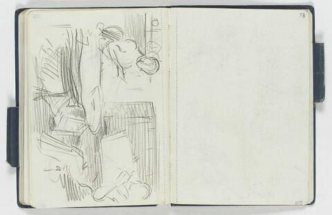 Couple assis dans un intérieur, lisant (l'homme, un journal ?, la femme, un livre)