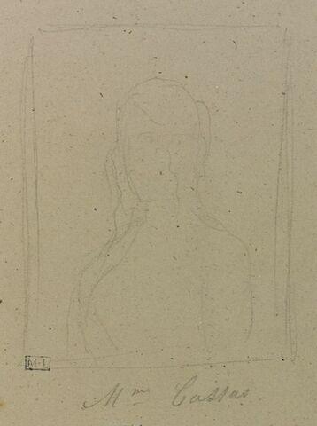 Portrait de femme en buste dans un encadrement : Mme Cassas
