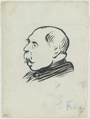 Tête d'homme moustachu, au front largement dégarni, de profil à gauche