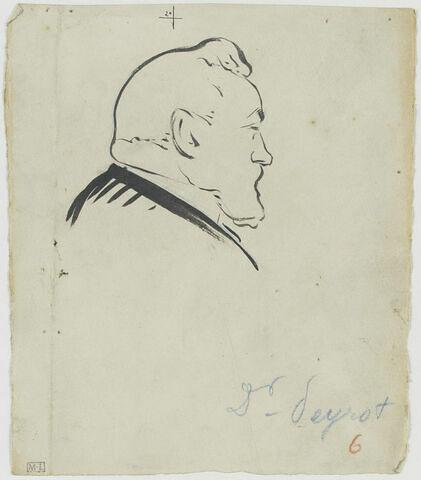Tête d'homme barbu, avec une houpette sur la tête, de profil à droite