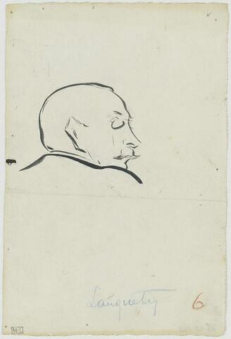 Tête d'homme avec fine moustache, de profil à droite