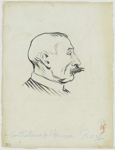 Tête d'homme moustachu, de profil à droite