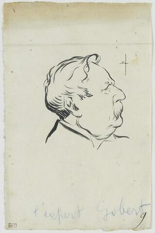 Tête d'homme moustachu, mèches de cheveux bouclés, de profil à droite