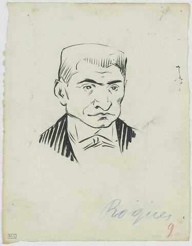 Tête d'homme de face, visage carré, nez épaté, avec un col cassé, haut des épaules rayé