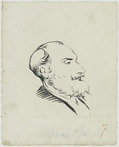 Tête d'homme au crâne allongé, avec favoris, moustache et barbe, de profil à droite