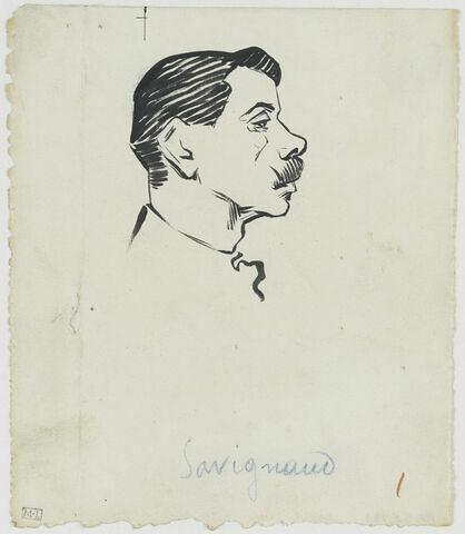 Tête d'homme moustachu, au nez retroussé, de profil à droite