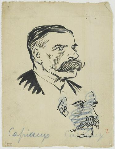 Tête d'homme avec une grosse moustache, de trois quarts à droite. Au-dessous, reprise de la même, barrée au crayon bleu