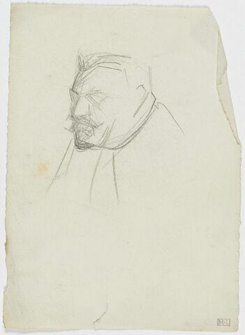 Croquis d'une tête d'homme moustachu, de trois quarts à gauche