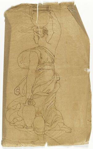 Copie d'après la femme de dos portant des amphores dans l'Incendie du bourg de Raphaël au Vatican