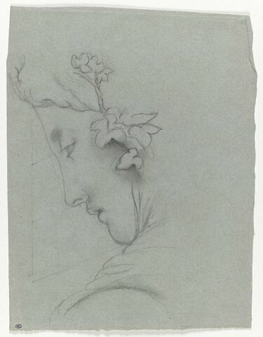 Tête féminine ceinte de feuilles de lierre, de profil à gauche avec trois lignes de proportion sur le profil