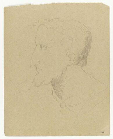 Tête d'homme de profil à gauche, portant une courte barbe et une mèche avançant en pointe sur son front