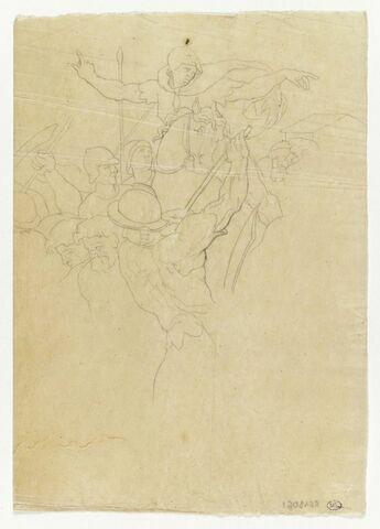 Fragment scène de bataille, d'après Raphaël, Xe loge au Vatican, Josué arrêtant le soleil