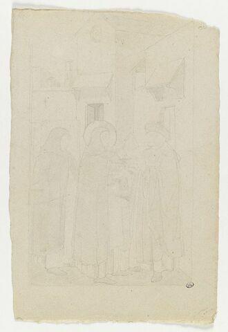 Trois personnages dont un moine auréolé devant une maison