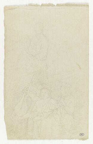 Peintre devant son chevalet ; au-dessous, trois musiciens