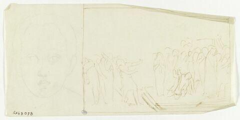 Tête de jeune garçon, de face. A gauche, dans un encadrement, résurrection de Lazare (?)