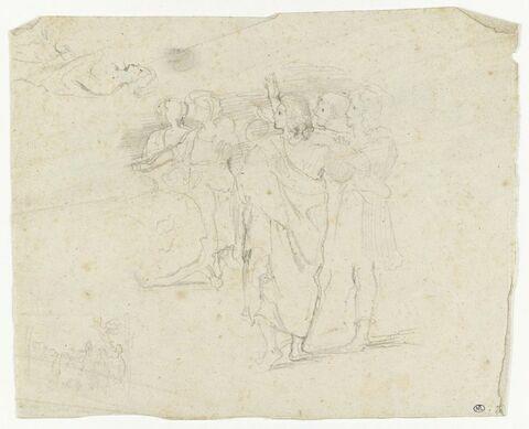 Groupe de cinq figures tournées vers la gauche, dont l'une lève le bras ; en haut à gauche, en travers, personnage à mi-jambes, de profil gauche ; en bas à gauche, dans un encadrement, croquis d'une prédication.