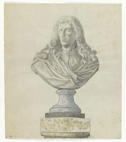 Copie d'après le buste sculpté d'un homme coiffé d'une longue perruque bouclée