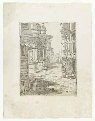 Rue dans une ville d'Orient avec une fontaine et trois femmes voilées