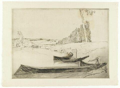 Barques au bord d'un étang
