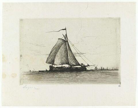 Barque à voile au large d'une rive animée de moulins à vent