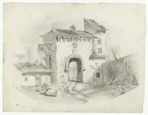 Porte fortifiée à l'entrée d'un bourg