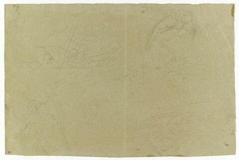 Feuille d'études diverses : scène de bataille, ange luttant contre un guerrier barbu, figures dans les airs