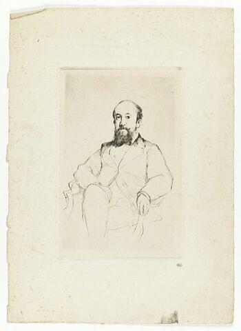 Homme vu en buste, barbu, de face, assis dans un fauteuil