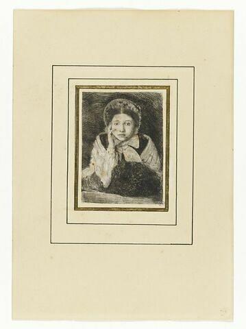 Portrait de femme en buste, de face, avec un manchon, gravé d'après Ingres
