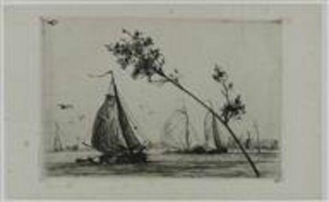 Grosse barques à voile sur un fleuve. Au fond, moulins à vent