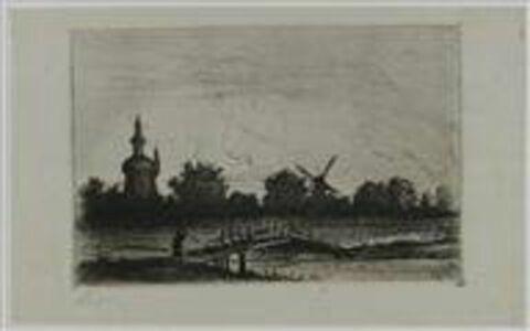Paysage en Hollande avec moulins à vent et pont de bois
