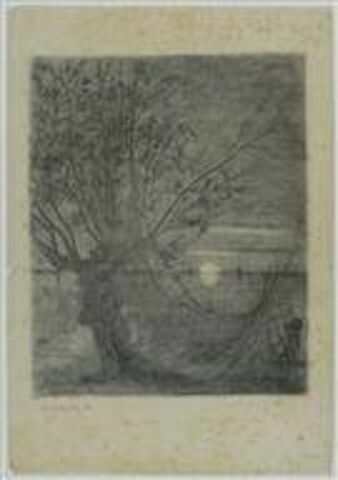 Paysage au clair de lune avec des filets au premier plan, pendant à un arbre