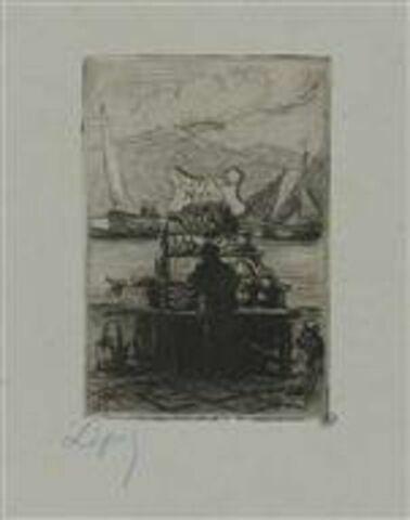 Marchand de poisson devant son étal, au bord de l'eau. Grosses barques à voile dans le fond