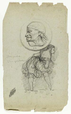 Feuille d'études avec un médaillon orné d'une tête d'homme coiffé d'un foulard. Au dessous, danseuse espagnole