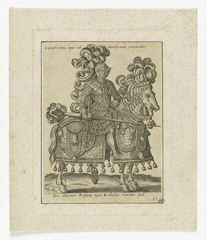Chevalier en armure sur un destrier encarapaçonné, tenant une lance