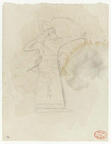 Copie d'après un relief assyrien : archer bandant son arc