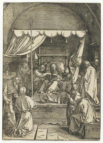 Scène de la vie de la Vierge : mort de la Vierge