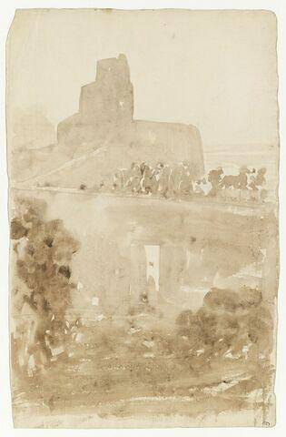 Paysage avec architecture parmi les arbres : étude pour Sémiramis construisant les jardins de Babylone (Musée d'Orsay)