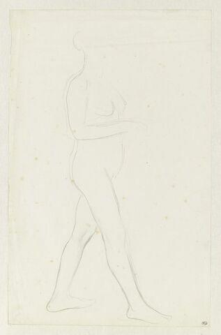 Etude de femme nue, debout, de profil à droite. Pour Sémiramis construisant les jardins de Babylone (Musée d'Orsay)