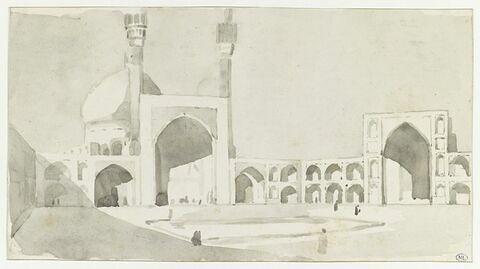 Vue de la cour intérieure de la grande mosquée d'Ispahan