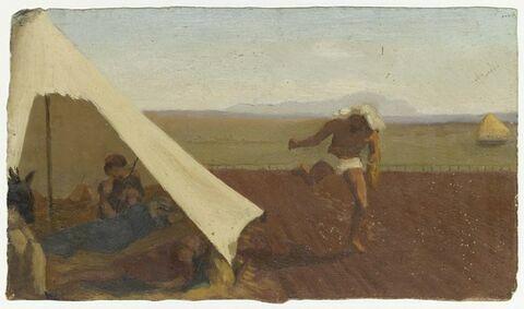 Scène orientale : à gauche, groupe de personnages sous une tente fixée sur un champ que parcoure un homme vêtu d'un pagne et semant