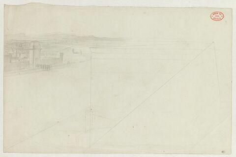Paysage à demi esquissé avec des édifices fortifiés dans le fond, pour Sémiramis construisant les jardins de Babylone