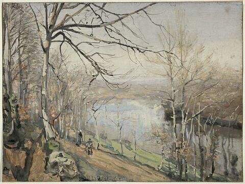 Paysage avec chemin bordé de grands arbres le long d'un fleuve