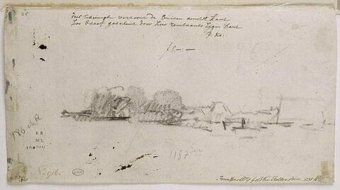 Croquis de paysage représentant la courbe de l'Amstel à Kostverloren