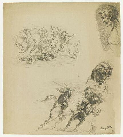 Deux études de combat de cavaliers, et buste d'homme.