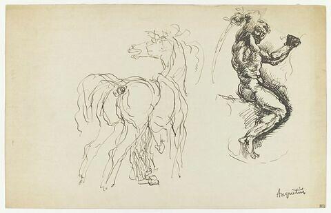 Etudes : cheval et cavalier armé d'un sabre.