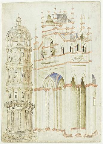 Architecture gothique et tour ornée de pilastres