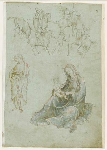 Cavaliers et soldats, figure de saint debout et Vierge d'humilité.