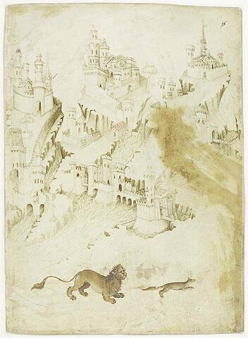 Paysage panoramique avec forteresses dominant un fleuve, et lion poursuivant un renard