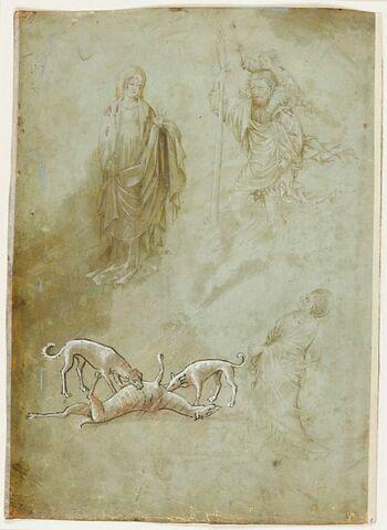 Sainte debout, saint Christophe et saint Jean, groupe des deux chiens attaquant un cervidé