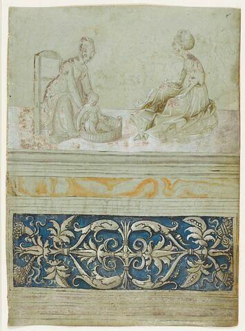 Deux femmes dont l'une baigne un enfant, soubassement décoratif